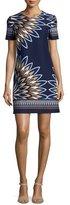 Tory Burch Deco Fan-Print Short-Sleeve Dress, Royal Navy/Eden