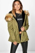 Boohoo Boutique Erin Faux Fur Lined Hooded Parka