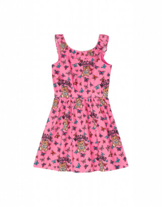 Moschino Butterflies Teddy Bear All Over Dress Woman Pink Size 4a It - (4y Us)