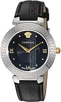 Versace Women's 'DAPHNIS' Swiss Quartz Stainless Steel and Leather Casual Watch, Color:Black (Model: V16020017)