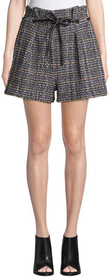 3.1 Phillip Lim Origami Pleated Textured Tweed Shorts