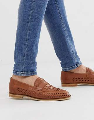 Office Leyton woven loafers in tan leather