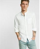 Express linen blend band collar shirt