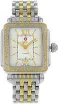 Michele Women's Deco Diamond Two Tone Stainless and White Dial.