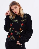 Miss Selfridge Embroidered Ruched Sleeve Sweatshirt