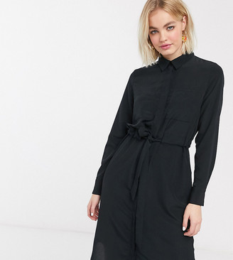 Monki Felice long sleeve midi shirt dress in black
