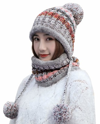 Mocasor Women's Winter Fleece Lined Cable Knitted Pom Pom Beanie Hat and Scarf Sets (11 Grey Set 2)