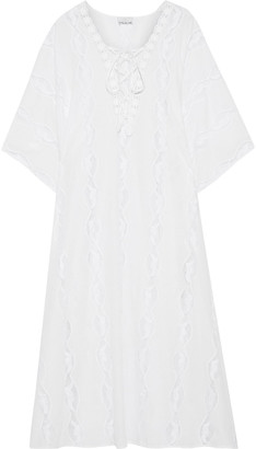 Miguelina Blair Crochet-trimmed Lace-up Cotton Coverup