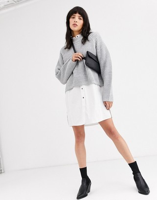 Weekday ribbed raglan sleeve jumper in grey