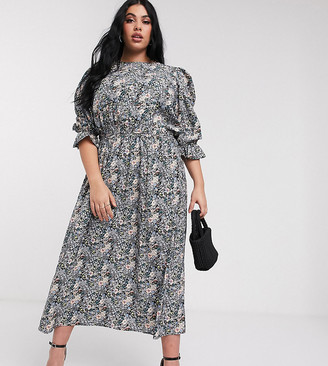 Never Fully Dressed Plus midaxi skater dress with balloon sleeve detail in blue floral print