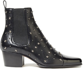 Balmain Studded Smooth And Patent-leather Ankle Boots