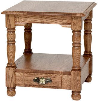 The Oak Furniture Shop Country Trend Solid Oak End Table with Drawer, Natural