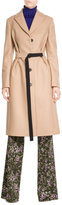 Jil Sander Navy Wool Coat with Cashmere