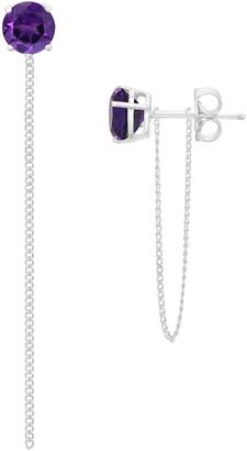Savvy Cie Sterling Silver White Amethyst Dangle Chain Stud Earrings