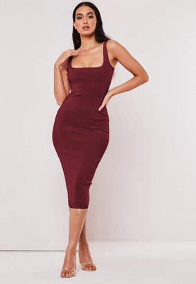Missguided Tall Plum Bandage Scoop Front Midi Dress