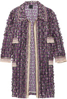 Anna Sui Sequin-embellished fringed tulle coat