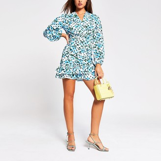 River Island Blue long sleeve frill ruched mini tea dress