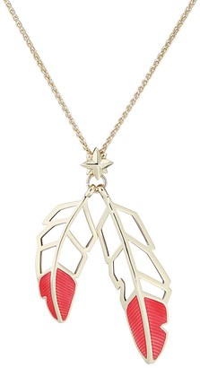 Feather Drop Pendant - Coral