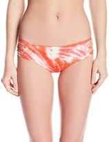 Lucky Brand Women's Fireworks Tie Dye Split Side Bikini Bottom with Shirred Back