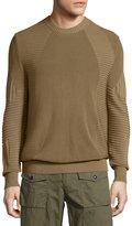 Belstaff Kallen Multi-Stitch Crewneck Sweater, Slate Green
