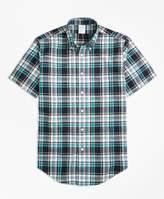 Brooks Brothers Regent Fit Green Madras Short-Sleeve Sport Shirt