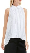 Vince Camuto Women's Eyelet Cotton High/low Blouse