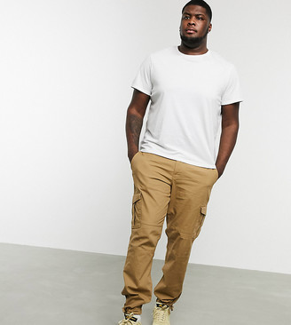 Jack and Jones Intelligence cargo trousers in dark sand