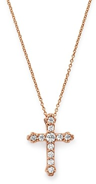 Bloomingdale's Diamond Cross Pendant Necklace in 14K Rose Gold, 0.25 ct. t.w. - 100% Exclusive