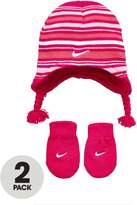Nike Baby Girl Striped Beanie And Mitten Set