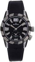 Edox Women's Royal Lady PVD and Silver Dual Time Rubber Watch
