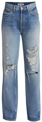 RE/DONE 90s High-Rise Relaxed Distressed Straight-Leg Jeans