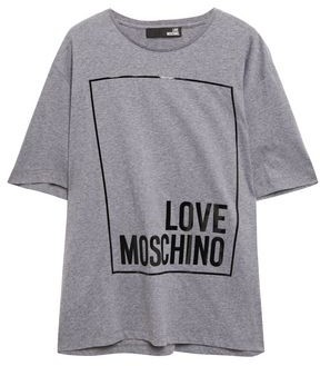 Love Moschino Patent-trimmed Logo-print Cotton-jersey T-shirt
