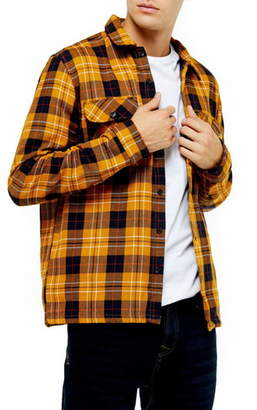 Topman Slim Fit Button-Up Plaid Twill Shirt Jacket