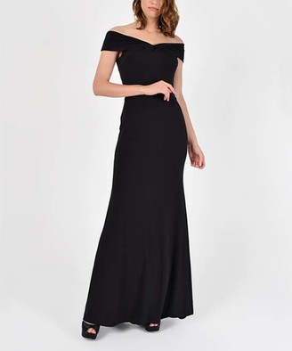 Laranor Women's Special Occasion Dresses BLACK - Black Off-Shoulder Mermaid Maxi Dress - Women