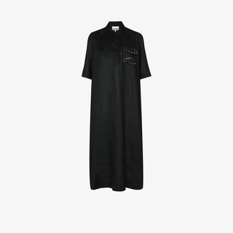 Ganni Collared Relaxed Fit Linen Midi Dress