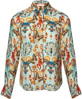 Matthew Williamson Regal Monkey Mint Silk Shirt