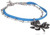 Scooter SY5051607043-Lucky Clover Women's Silver Metal Bracelet Link Bright Blue
