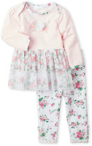 Laura Ashley Newborn Girls) Two-Piece Mesh Hem Tunic & Floral Leggings Set