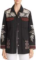 Johnny Was Surya Embroidered Military Jacket