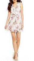 Sequin Hearts Floral Print Faux-Wrap Ruffle Trim Dress