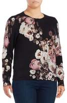 Lord & Taylor Plus Floral Cashmere Cardigan