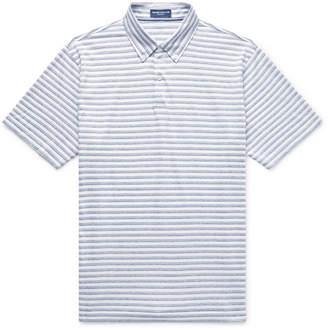 Peter Millar Button-Down Collar Striped Cotton And Linen-Blend Polo Shirt