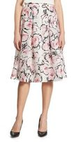 Karl Lagerfeld Paris Floral Pleated Midi Skirt