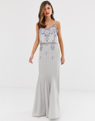 Frock and Frill cami strap overlay maxi dress with embellished detail-Grey