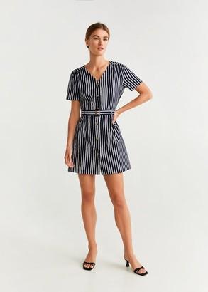MANGO Belted striped shirt dress