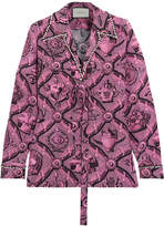 Gucci Faux Pearl-embellished Printed Silk Crepe De Chine Blouse - Pink