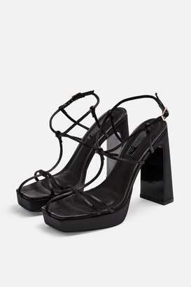 Topshop Womens Riga Black Cage Block Heels - Black