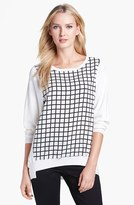 Chaus Boatneck Check Front Top
