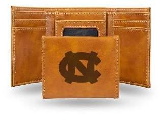 NCAA North Carolina Tar Heels Laser Engraved Brown Leather Trifold Wallet