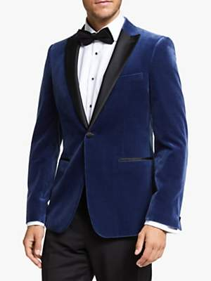 John Lewis & Partners Italian Velvet Peak Lapel Slim Fit Dress Suit Jacket, Blue